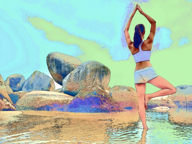 Yoga Sketch – Beach Rocks