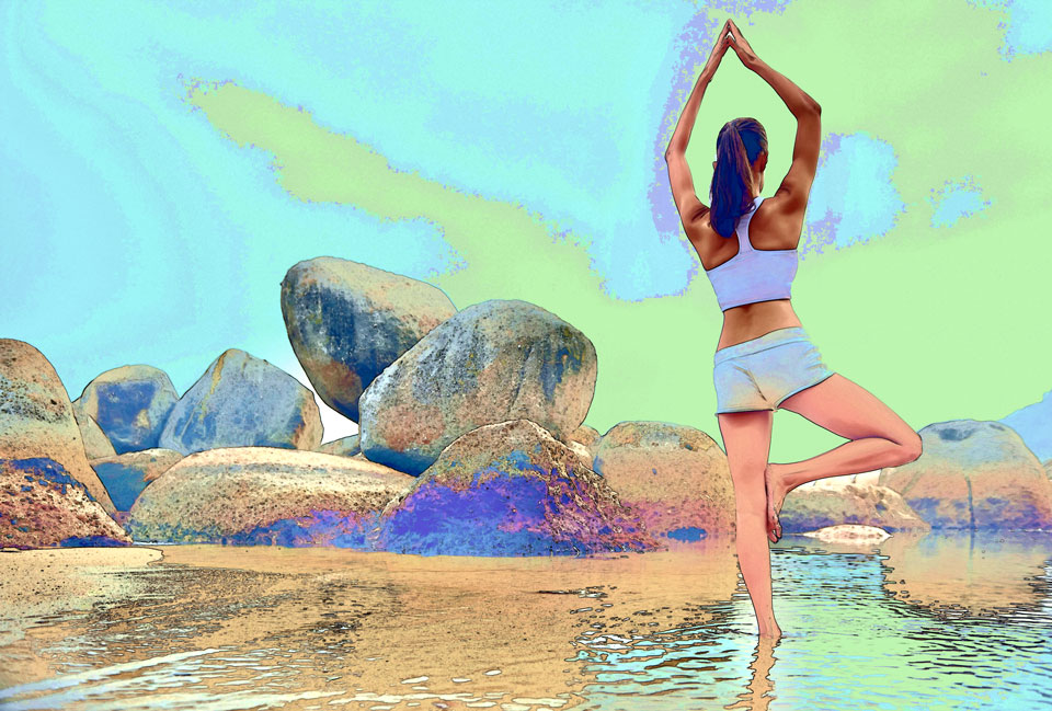 Yoga by the Beach with Rocks