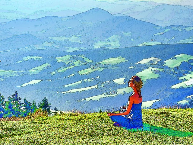 Yoga Sketch – Meditation in the Mountains
