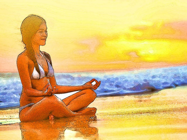 Yoga Sketch – Beach Relaxation
