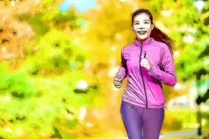 Female jogger. Fit young Asian woman jogging in park smiling hap