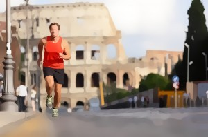 Running runner man by Colosseum, Rome, Italy. Male athlete train