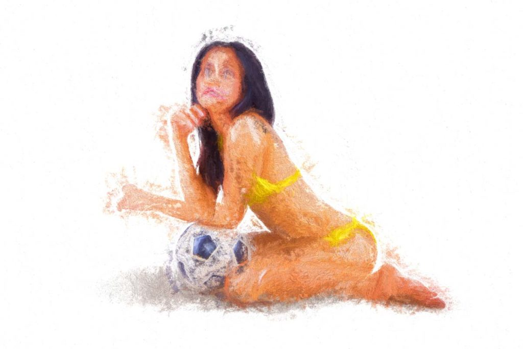 Model with Soccer Ball