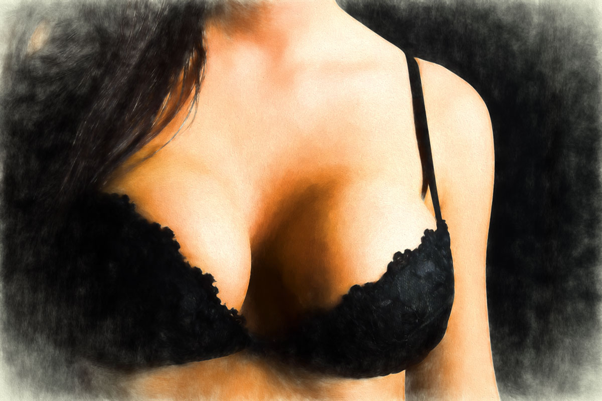 Faded Painting with Bra