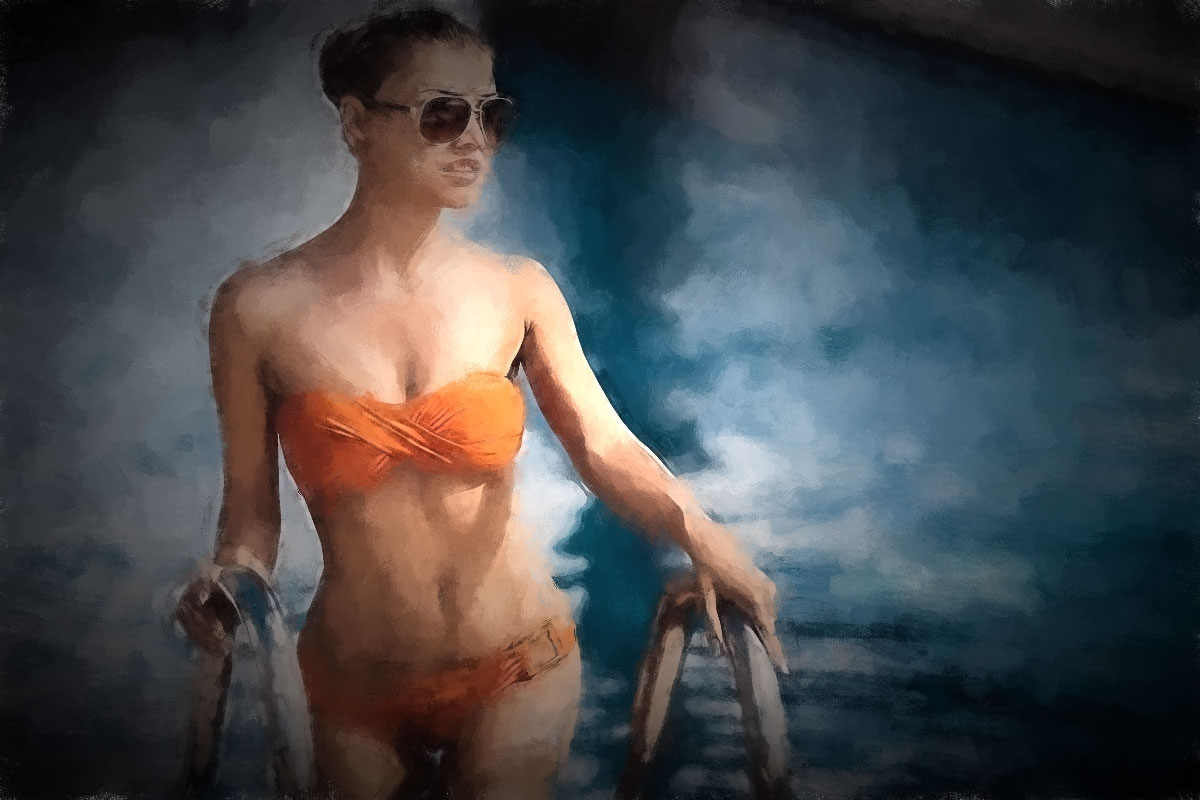 Summertime Pool Orange Bikini