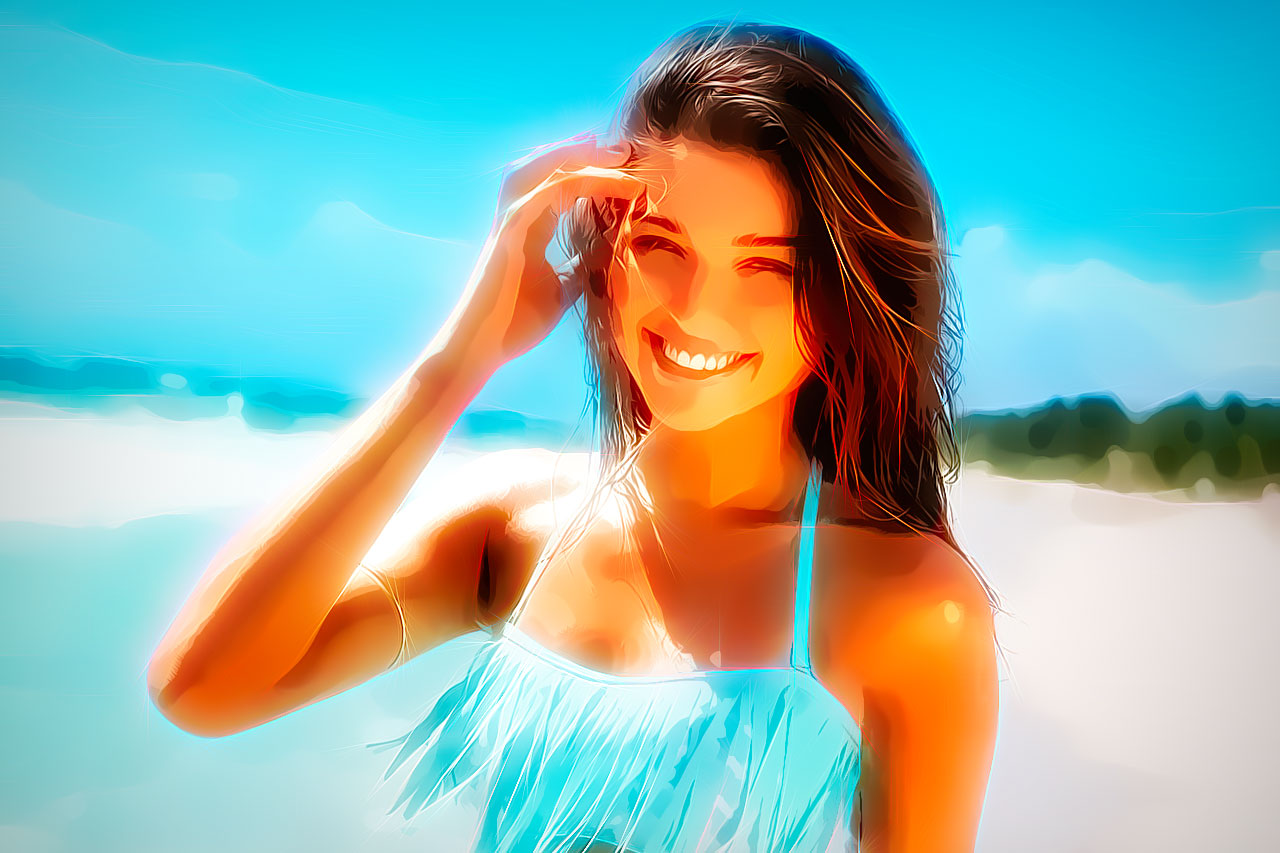Girl in Blue at the Beach