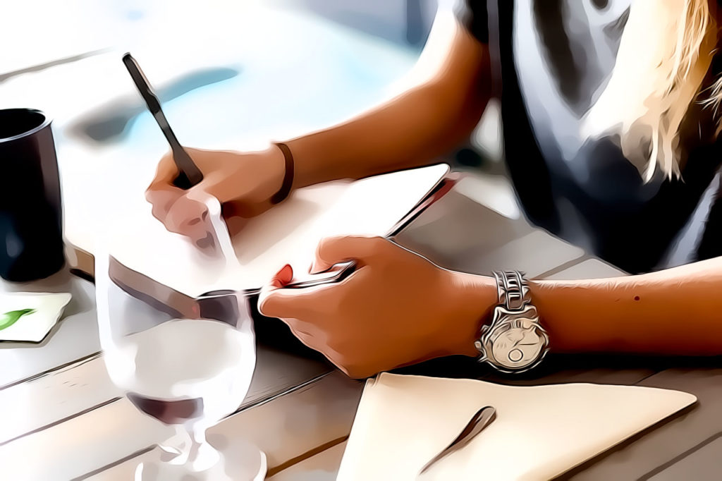 Writing poetry at the table